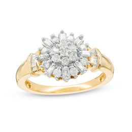 1/3 CT. T.W. Baguette and Round Diamond Sunburst Collar Ring in 10K Gold