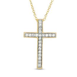 1/6 CT. T.W. Certified Diamond Cross Pendant in 14K Gold (I/I1)