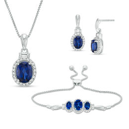 Oval Lab-Created Ceylon and White Sapphire Frame Pendant, Bolo Bracelet and Drop Earrings Set in Sterling Silver - 9.5""