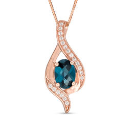 Oval London Blue and White Topaz Ribbon Flame Pendant in 10K Rose Gold