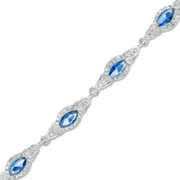 Marquise Lab-Created Blue Sapphire and Diamond Accent Tri-Sides Frame Bracelet in Sterling Silver - 7.5""