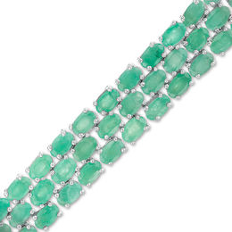 Oval Emerald Triple Row Bracelet in Sterling Silver - 7.5""
