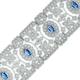 Oval Lab-Created Blue and White Sapphire Flower Filigree Vintage-Style Bracelet in Sterling Silver - 7.5""