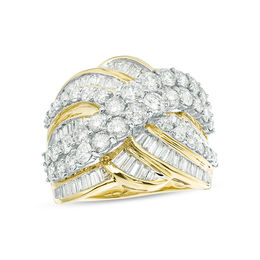 3 CT. T.W. Baguette and Round Diamond Multi-Row Crossover Ring in 10K Gold
