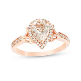 Pear-Shaped Morganite and 1/6 CT. T.W. Diamond Frame V-Sides Engagement Ring in 10K Rose Gold