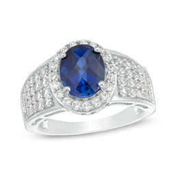 Oval Lab-Created Blue and White Sapphire Frame Multi-Row Ring in Sterling Silver - Size 7