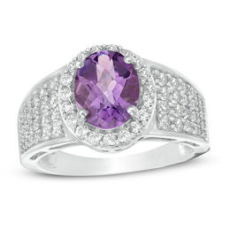 Oval Amethyst and Lab-Created White Sapphire Frame Multi-Row Ring in Sterling Silver - Size 7