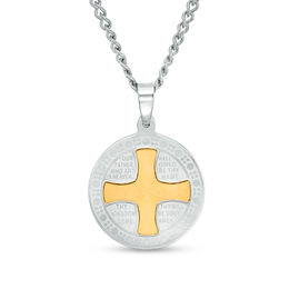 Men's Multi-Finish Lord's Prayer and Cross Framed Medallion Pendant in Stainless Steel and Yellow IP - 24""