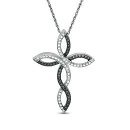 Enhanced Black and White Diamond Accent Twist Ribbon Cross Pendant in Sterling Silver