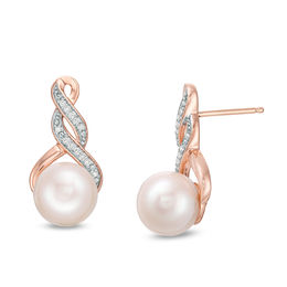 4640c98ab ... Drop Earrings in 10K Rose Gold · 8.0 - 8.5mm Cultured Freshwater Pearl  and 1/15 CT.