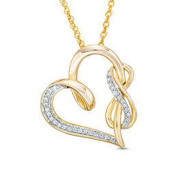 1/8 CT. T.W. Diamond Infinity and Swirl Heart Pendant in Sterling Silver with 14K Gold Plate