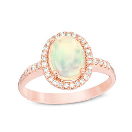 Oval Opal and 1/6 CT. T.W. Diamond Frame Ring in 14K Rose Gold