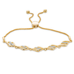 1/5 CT. T.W. Diamond Wave Bolo Bracelet in 10K Gold - 9.5""