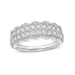 1 CT. T.W. Diamond Double Row Scallop-Edge Anniversary Band in 10K White Gold