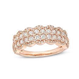 1 CT. T.W. Diamond Double Row Scallop-Edge Anniversary Band in 10K Rose Gold