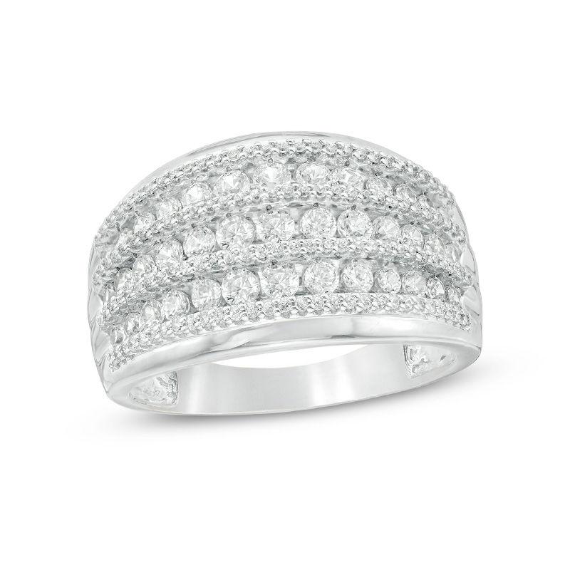 1 Ct T W Diamond Alternating Graduated Multi Row Anniversary