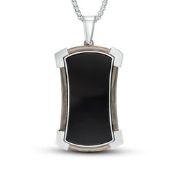 Men's Shaquille O'Neal Onyx Shield Dog Tag Pendant in Two-Tone Sterling Silver - 24""