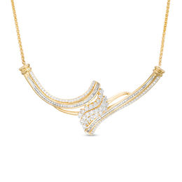 1 CT. T.W. Baguette and Round Composite Diamond Flame Bypass Necklace in 10K Gold - 15.5""