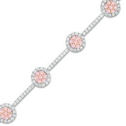 2 CT. T.W. Certified Pink and White Diamond Frame Bracelet in 14K Two-Tone Gold (Fancy/I2)