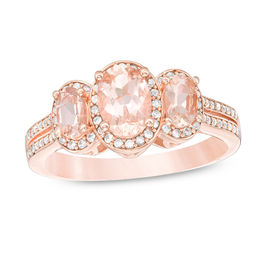 Oval Morganite and 1/4 CT. T.W. Diamond Three Stone Frame Ring in 10K Rose Gold