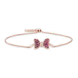 Mickey Mouse & Minnie Mouse Garnet and Diamond Accent Bow Bolo Bracelet in 10K Rose Gold - 8.5""