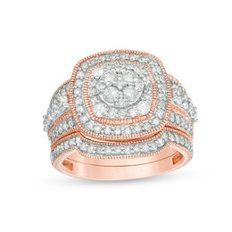 1-1/2 CT. T.W. Composite Diamond Double Cushion Frame Vintage-Style Bridal Set in 10K Rose Gold