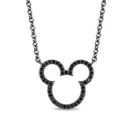 Mickey Mouse & Minnie Mouse 1/5 CT. T.W. Enhanced Black Diamond Necklace in Sterling Silver with Black IP - 17.5""