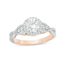 1-1/5 CT. T.W. Diamond Frame Twist Vintage-Style Engagement Ring in 14K Two-Tone Gold - Size 7