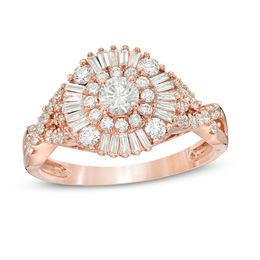 1 CT. T.W. Baguette and Round Diamond Sunburst Frame Tri-Sides Engagement Ring in 14K Rose Gold