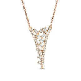 "3/8 CT. T.W. Baguette and Round Diamond Scatter ""V"" Necklace in 10K Rose Gold"