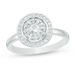 1/2 CT. T.W. Diamond Double Frame Ring in 10K White Gold