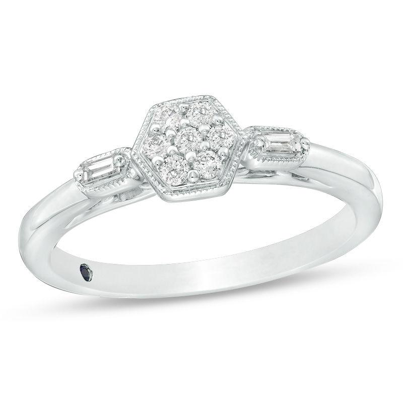 Vintage Size 6 BlackWhite Diamond Sterling Silver Ring